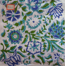 Indian Flower Hand Block Print Running Loose Crafting Throw Bedspread Materiel