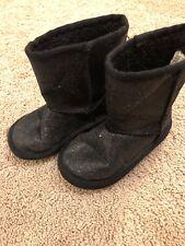 Infant Girls Black Glitter Winter Boots Size 6
