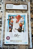 BRYCE HARPER 2011 Bowman #1 Draft Pick Rookie Card RC GEM MINT 10 Phillies HOT $