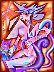 NUDE , figurative cubist painting by Kaola Oty