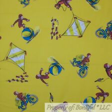 BonEful FABRIC Cotton Quilt Yellow Brown MONKEY Curious George Bike Kite S SCRAP