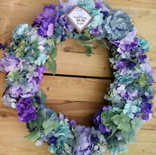 "Wreath All Season Summer Garden Mix XL 24"" FREE SHIP In/Outdoor VIOLETS PURPLES"