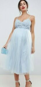 NWT - ASOS Women's 'MATERNITY' Grey Blue PREMIUM LACE CAMI TOP TULLE DRESS -  4