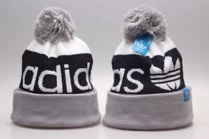 New Adidas Logo Arcylic Winter Knit Beanie Cuffed POM Adult Unisex Gray/Navy