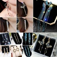 Fashion Long Tassel Crystal Earrings Women Drop Dangle Ear Stud Wedding Party