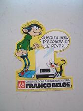 FRANQUIN  / GASTON LAGAFFE / AUTOCOLLANT PUB  POUR FRANCO BELGE