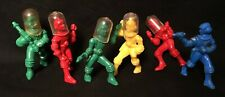 Six Vintage 1950s Ajax Archer Hard Plastic Spacemen And 5 Helmets