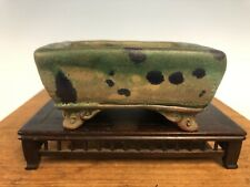 Unique Glazed Shohin Size Bonsai Tree Pot By Fugushige Bushuan 4 1/2� Great Feet