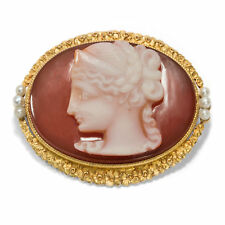 Diosa Hera COMO Gema ! Antiguo Estilo Moderno Broche,camafeo en gold. Perlas