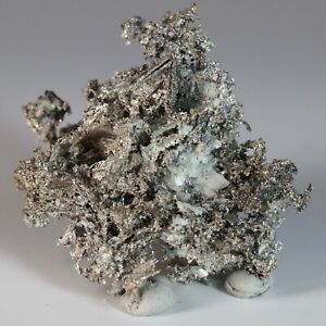 Native Silver Crystals with Calcite and Mica in Matrix