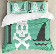 Green Queen Size Duvet Cover Set Skull Shark Marine Quote with 2 Pillow Shams