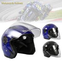 Casque Demi Scooter Moto Casque Modulable Double Pare-Soleil Noir Bleu Homme CP