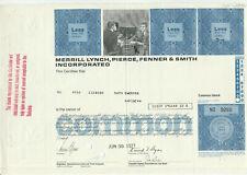Merrill Lynch Pierce Fenner & Smith Stock Certificate Bank of America Blue