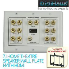 Home Theatre 7.1 Speaker Wall Plate with HDMI - includes Mount Bracket