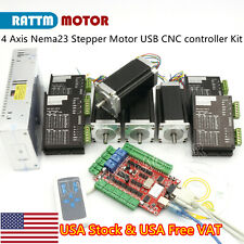 In Usa4 Axis Usb Cnc Controller Kit Nema23 Stepper Motor 425ozinampdriveramppower