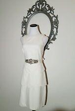 Badgley Mischka White Dress Belt Beaded Size 14