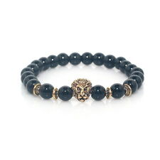 Lion Charm Gold Bracelet Black Glossy Stone Marble by Maya Bracelets NEW W/Bag!