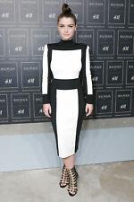 Balmain H&M Color Block Stretch Pencil Midi Skirt Knit UK 6 8 Colour Black White