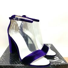 5b019a966 Sam Edelman Yaro Women s Purple Velvet Block Heel Ankle Strap Open Toe  Sandal 10