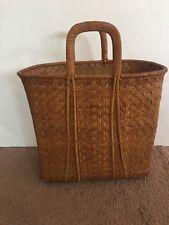 Vintage Woven Weaved Bucket Trapper Basket Handle Handmade