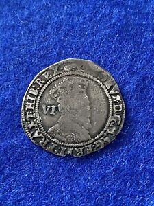 James 1st Hammered sixpence  1605 MM Rose S2657 gunpowder plot