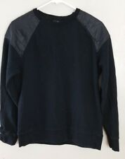 H&M Men's Faux Leather Shoulder Black Long Sleeve Sweatshirt size M