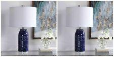 "Pair Reverie Xl 25"" Distressed Blue Glaze Ceramic Accent Table Lamp Uttermost"