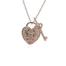 Oro Rosa Plata de Ley Espiral Corazón & Aguamarina Llave Dije sobre 45cm Cadena
