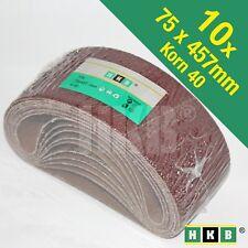 10 X Gewebe-Schleifbänder, 75x457mm, Korund, K40, Profi-Qualität, 950725