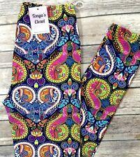Curvy Multi Color Paisley Leggings Floral Paisley Butter Soft Plus Curvy 10-18