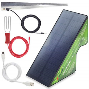 XSTOP 2 Km Compact Solar Powered Electric Fence Energiser, All Leads and Earth