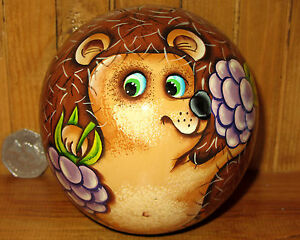 Russian Wooden Wobbly BALL Doll hand painted Hedgehog with Bell Ring signed