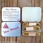 1950s Vintage Full ULTREX PLATINUM Metal Tin 6 Rubber Prophylactic Condoms NOS