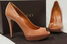 GUCCI BETTY PATENT LEATHER OPEN-TOE PLATFORM  PUMP SHOES 38.5/8.5 $585