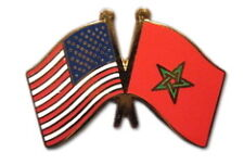 Morocco Friendship with US Flag Lapel Badge Pin
