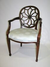 """Edward Ferrell """"Cobweb"""" Open Armchair; Trade Only Asian Inspired Fabric"""