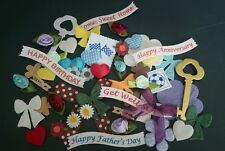 50 x MIXED EMBELLISHMENTS,PADDED/MULBERRY PAPER, FLOWERS, BOWS & MORE A GOOD MIX