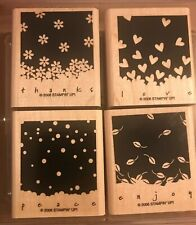 Stampin Up 2006 Gently Falling 4 Wood Mounted Rubber Stamp Set Su Retired Stamps