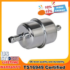 """Fuel Filter 3/8"""" InLine Hose Chrome Canister Carbureted Suit for Chevy Ford New"""