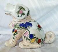 Vintage Handpainted Chinese Glazed Porcelain Dog Flowers