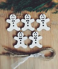xmas Tree Decoration Rustic Nordic White Wooden Hanging gingerbread ginger man