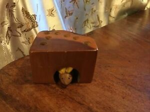 Vintage wooden pencil holder with inset wood mouse Wood Mouse Hole Pencil Holder