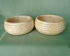 Lot 2 Wood Wooden Grain Honey Dipper Ribbed Texture Salad Bowls Dishes Design 6""