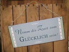 """Metallschild """"Nimm dir Zeit zum GLÜCKLICH sein!"""" Spruch Motto Deko Wandbild Bild"""