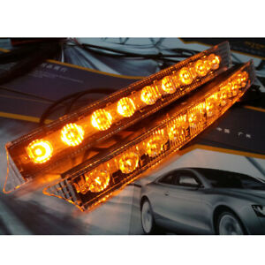 2PCS Car DC 12V Led Daytime Running Lights Auto Flashing Net Lamp w/ Steering