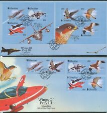 GIBRALTAR 2001 WINGS OF PREY BIRDS AIRCRAFT FIRST DAY COVERS 2 DIFFERENT BIN £5