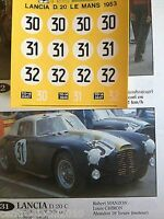 DECALS KIT 1/43 LANCIA D20 COUPE' LE MANS 1953 N.30 31 32