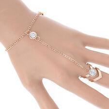 CH Women Glitter Rhinestone Hand Harness Bracelet Slave Chain Link Finger Ring