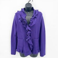 MARISA CHRISTINA Womens Purple Felted Wool Floral Applique Cardigan Sweater Sz M