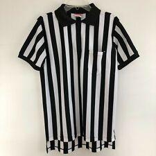 Rawlings Black White Striped 1/4 Zip Polo Referee Shirt Size M